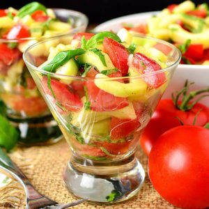 Cucumber and Tomato Salad with BEST-EVER Italian Vinaigrette
