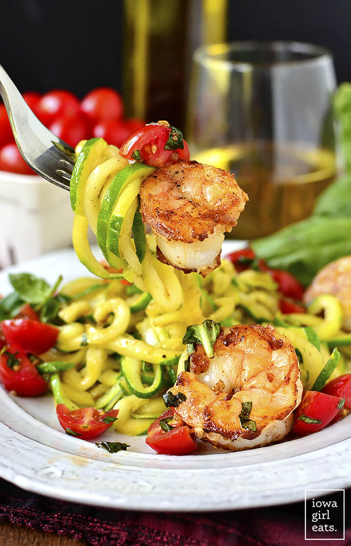 Garlicky Tomato Basil Shrimp With Zoodles Iowa Girl Eats