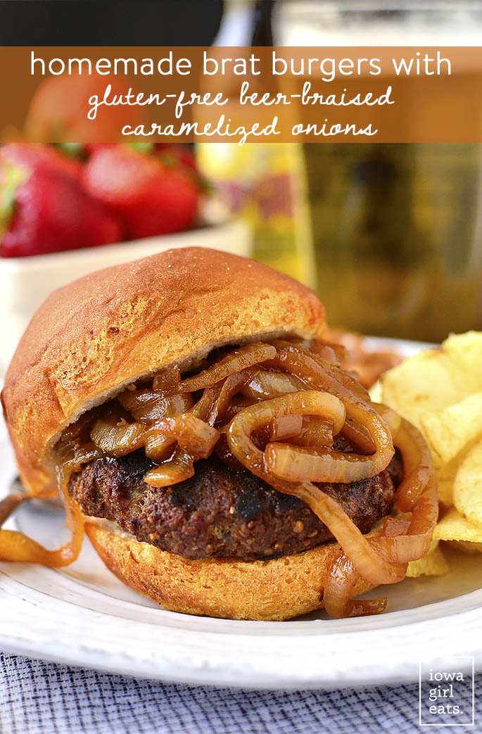 Homemade Brat Burgers with Gluten-Free Beer-Braised Caramelized Onions are homemade brat patties (just pork and spices,) topped with luscious, gluten-free beer-spiked onions. You'll be making this easy grilling recipe all summer long! | iowagirleats.com
