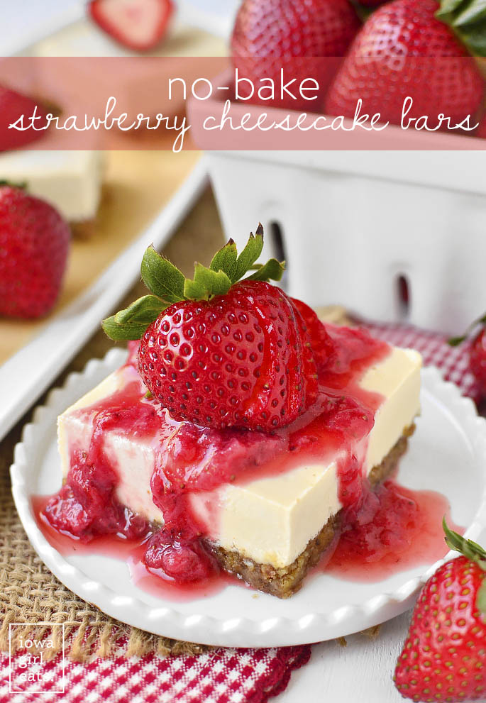 No-Bake Strawberry Cheesecake Bars are incredibly decadent yet perfect for a less-guilt sweet treat. Gluten-free and vegan, too! | iowagirleats.com