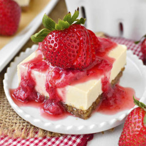 No-Bake Strawberry Cheesecake Bars (GF + Vegan)
