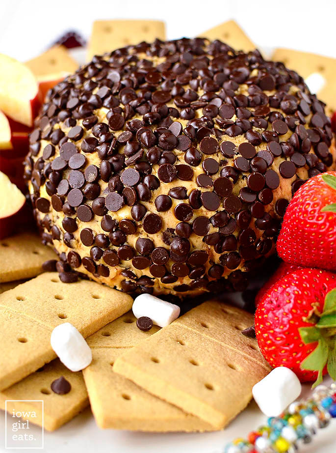 peanut butter s'mores cheesecake ball covered in chocolate chips