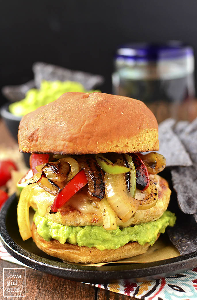 Chicken Fajita Cheeseburgers are a festive and fun gluten-free dinner recipe! Grill outdoors or in a skillet indoors. | buzzpur.info