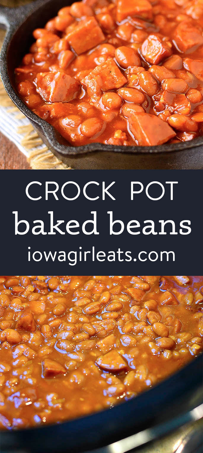 Photo collage of crock pot baked beans