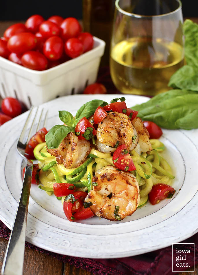 Garlicky Tomato-Basil Shrimp with Zoodles is a fresh and healthy, gluten-free summer recipe. Quick, easy and made in 1 skillet, too! | iowagirleats.com
