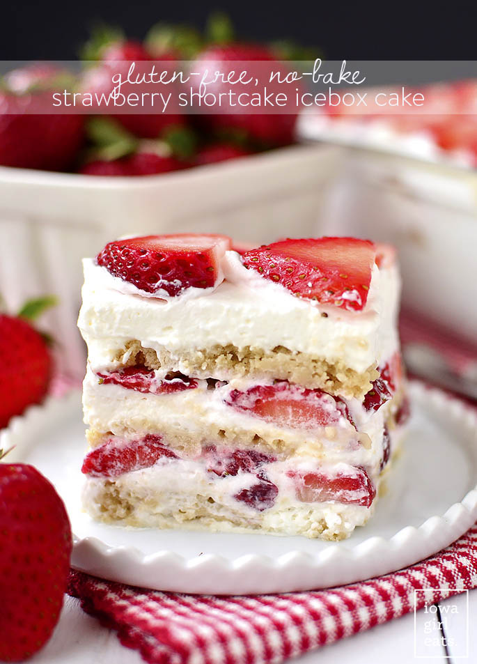 Gluten-Free No-Bake Strawberry Shortcake Icebox Cake is a perfectly sweet, gluten-free summer dessert recipe. Just 5 ingredients and make-ahead, too! | www.safways.com