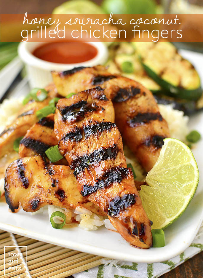 Chinese takeout meets the summer grill in gluten-free Honey Sriracha Coconut Grilled Chicken Fingers with dipping sauce. It's the best of both worlds! | iowagirleats.com