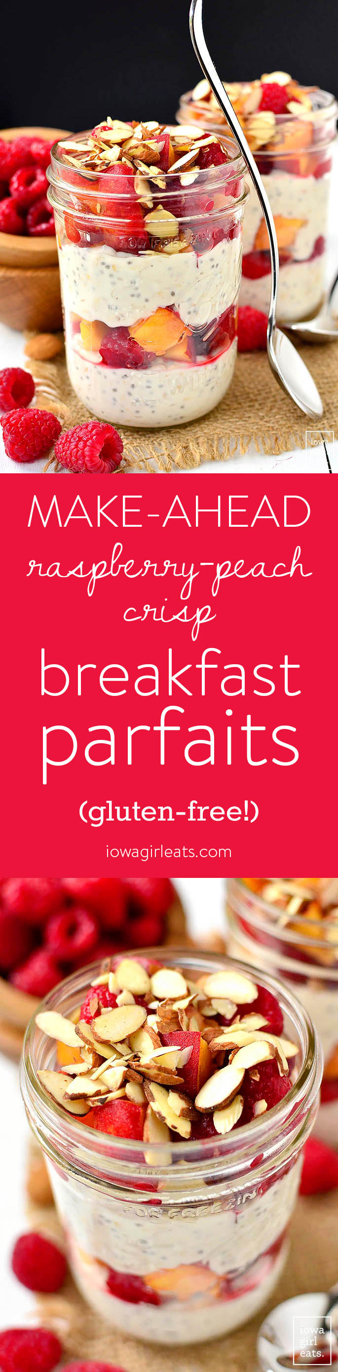 Make-Ahead Raspberry-Peach Crisp Breakfast Parfaits are gluten-free, fresh and filling. Assemble at night then grab and go for a quick and healthy breakfast in the morning. | iowagirleats.com