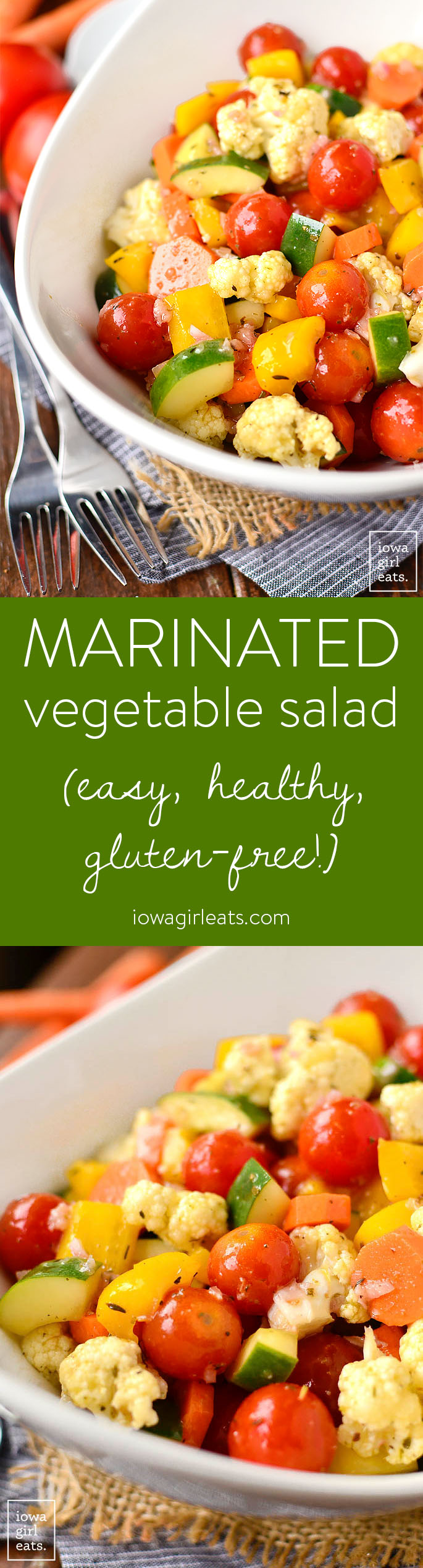 Marinated Vegetable Salad is a healthy salad recipe highlighting fresh summer vegetables. Toss with tangy vinaigrette then marinate overnight for a quick and easy side dish! | iowagirleats.com