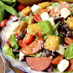 Pizza Salad with Homemade Gluten-Free Croutons