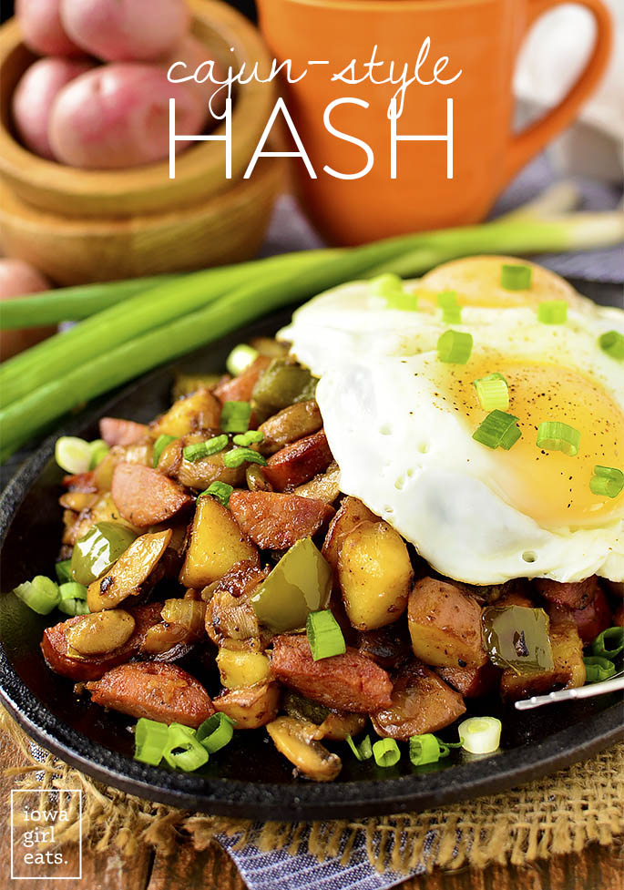 Cajun-Style Hash is a filling, gluten-free breakfast or brunch recipe packed with savory southern flavors! | iowagirleats.com