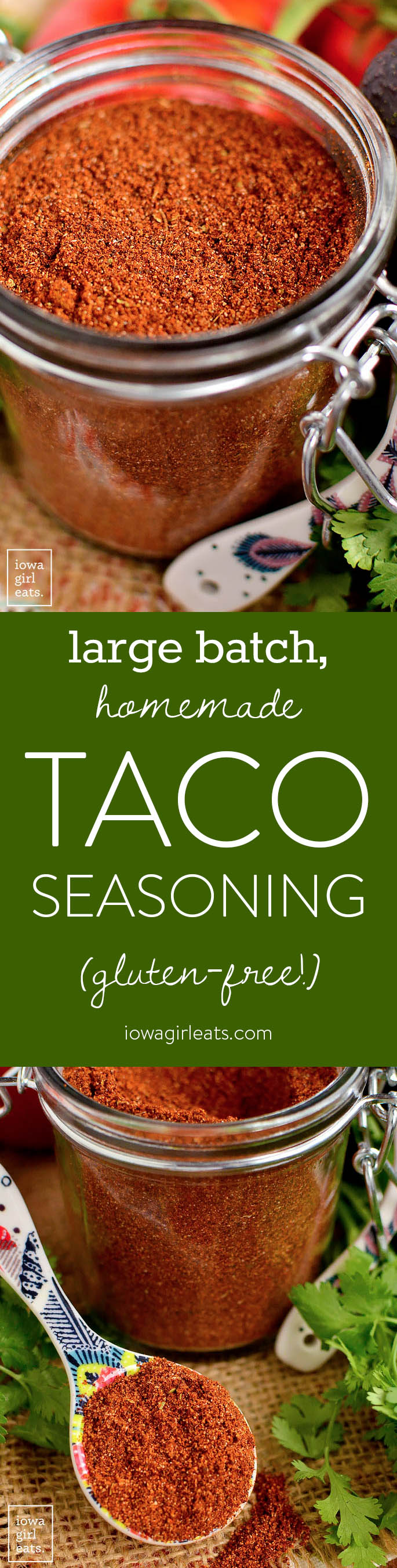 Large Batch Homemade Taco Seasoning is a cinch to prepare and ready when you are for taco night! Full of spice cupboard staples and free from gluten, artificial flavors, and ingredients. | iowagirleats.com