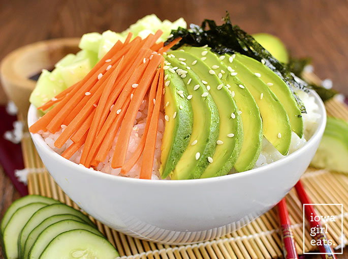 Vegetable Sushi Roll in a Bowl is a quick, healthy, gluten-free recipes that tastes just like a vegetable sushi roll, without all the work! | iowagirleats.com