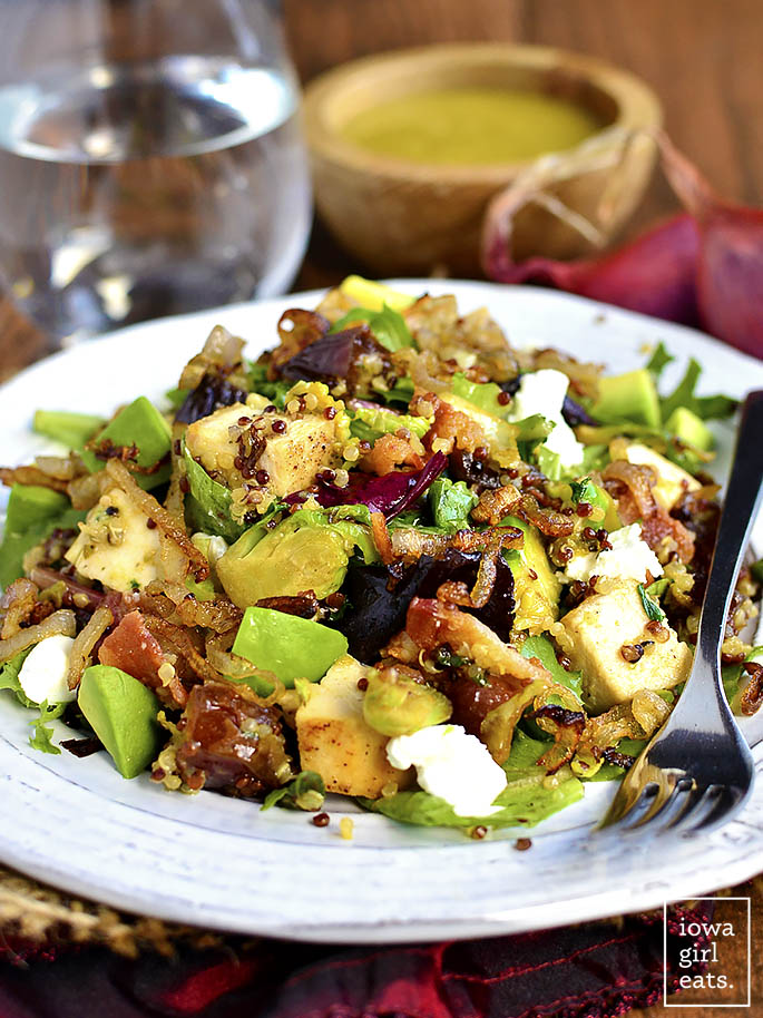 Chicken, Bacon, Date, and Brussels Sprouts Quinoa Power Salad is filled with flavor and protein-packed ingredients to power you through your day. The combination of flavors will leave you wanting more and more! #glutenfree | iowagirleats.com