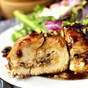 Fig, Goat Cheese and Pistachio Stuffed Chicken with Fig-Balsamic Pan Sauce