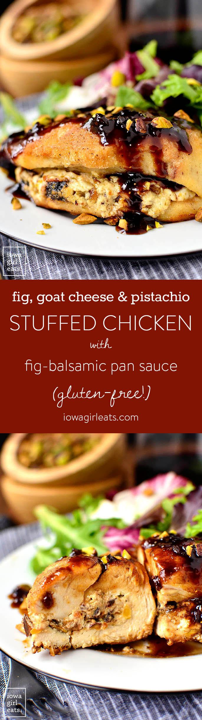 Fig, Goat Cheese and Pistachio Stuffed Chicken with Fig-Balsamic Pan Sauce is an easy yet elegant, gluten-free dinner recipe made in one skillet and in under 30 minutes! | iowagirleats.com