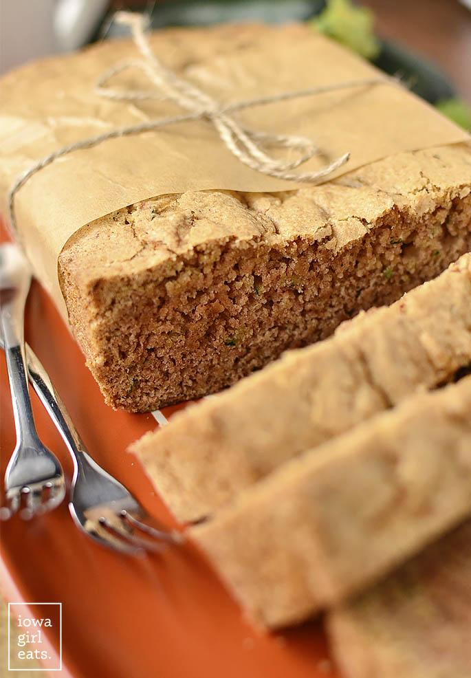 Gluten-Free Zucchini Coffee Cake is dense, just sweet enough, and full of garden-fresh zucchini. Pour yourself a coffee of cup or tea and enjoy! | iowagirleats.com