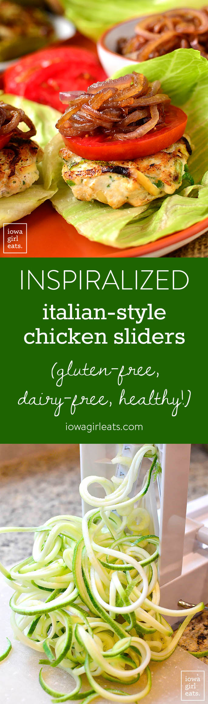 Italian-Style Chicken Sliders are made fun and healthy by incorporating spiralized zucchini in the patties and caramelized onions to pile on top! These gluten-free, family-friendly burgers will be a hit at your house! | iowagirleats.com