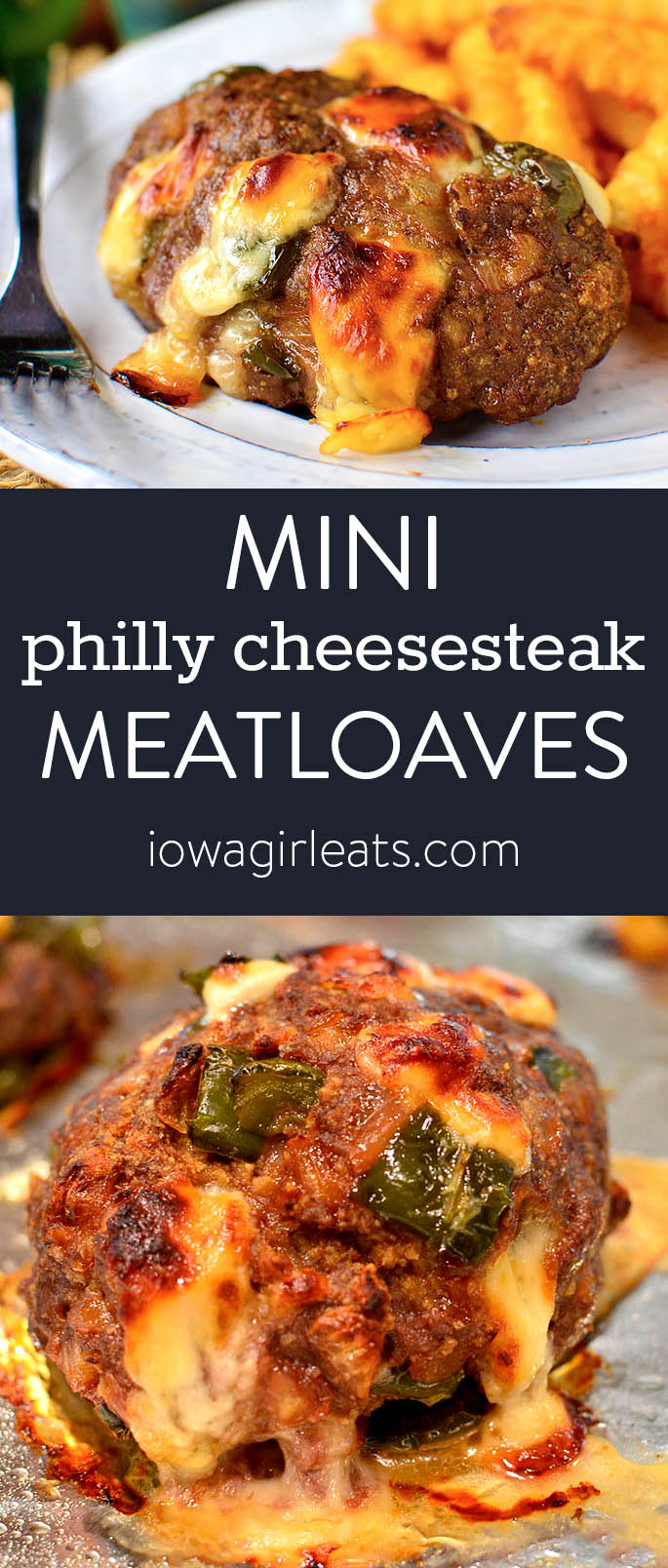 Photo collage of philly cheesesteak meatloaves
