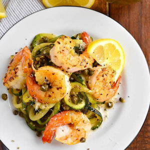 Skinny Shrimp Piccata with Zoodles