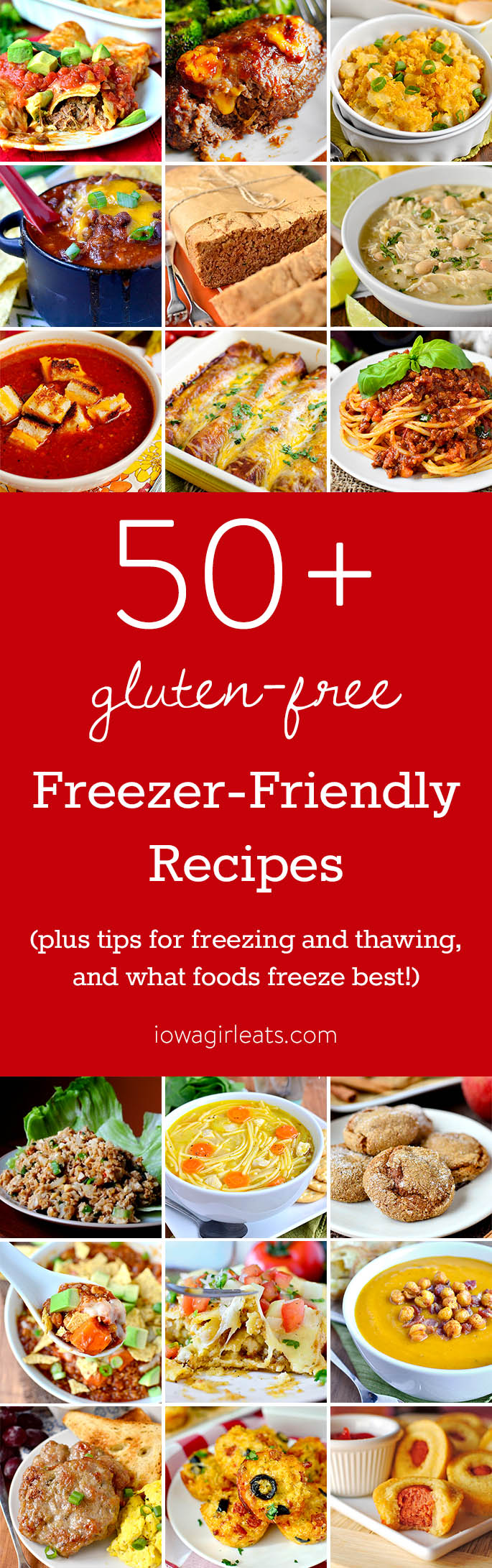 Freezer cooking is a wonderful way to save time and money in the kitchen! Here are 50+ gluten-free freezer-friendly recipes, plus tips on how to freeze foods, and which foods do and do not freeze well. | iowagirleats.com