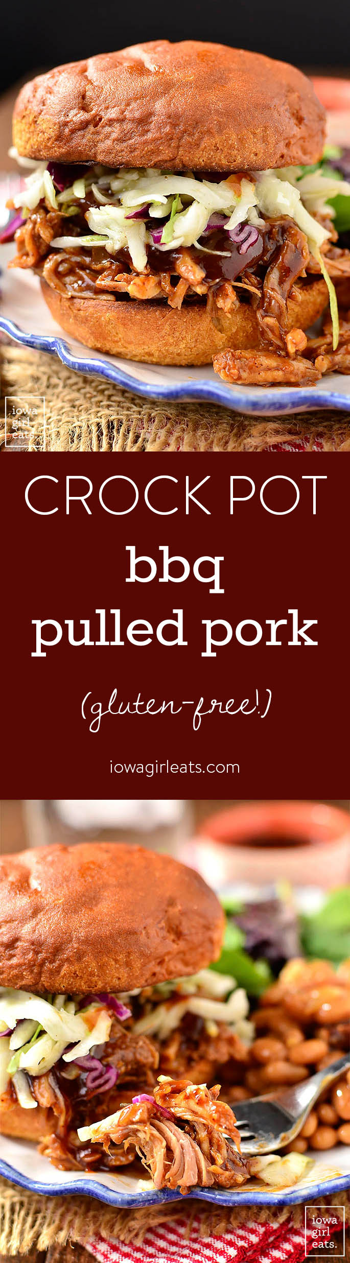 Crock Pot BBQ Pulled Pork is a 5-ingredient, long-cooking crock pot recipe that couldn't be simpler. Use the pulled pork in sandwiches, or for nachos, salads, and wraps! | iowagirleats.com