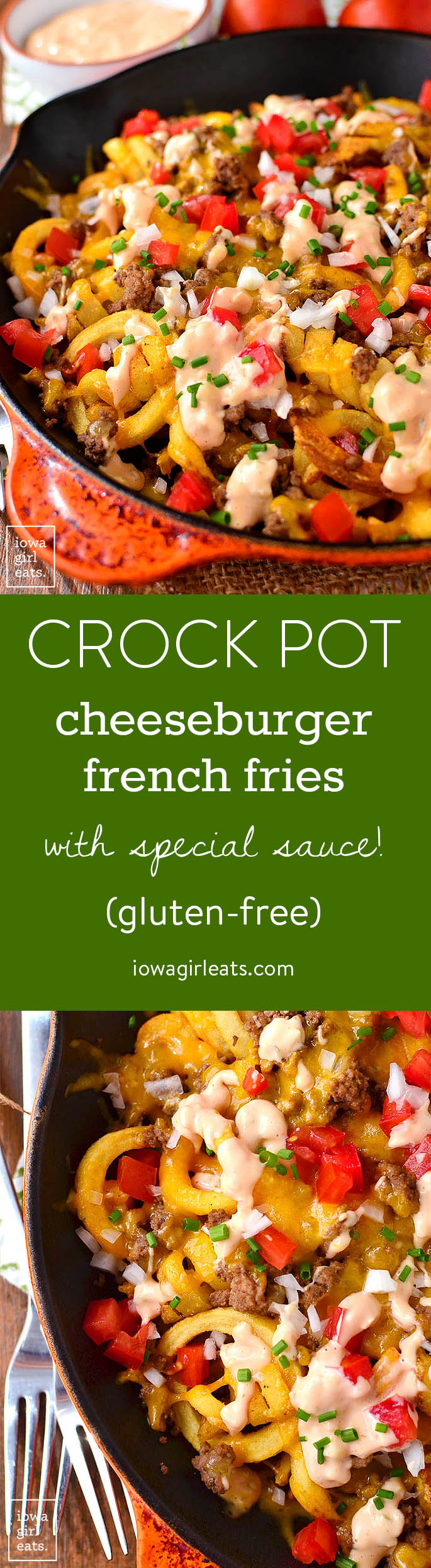 Give your burger and fries a makeover with Crock Pot Cheeseburger French Fries with Special Sauce! Your family will devour this simple, gluten-free dinner recipe and you can use the leftover meat in a variety of ways. | iowagirleats.com