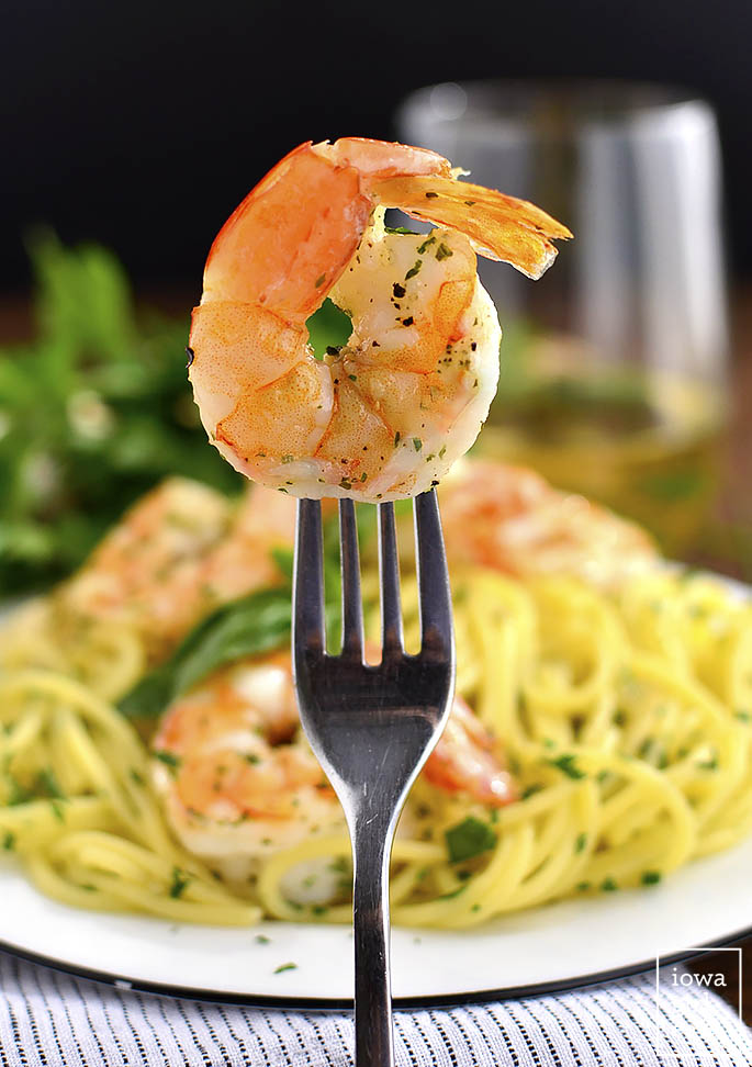 Garlic Herb Butter Pasta with Easy Roasted Shrimp is a simple gluten-free dinner recipe made with kitchen staples, that will on the table in less than 30 minutes! | iowagirleats.com
