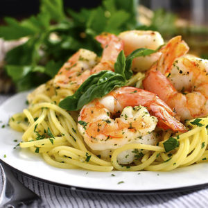 Garlic Herb Butter Pasta with Easy Roasted Shrimp