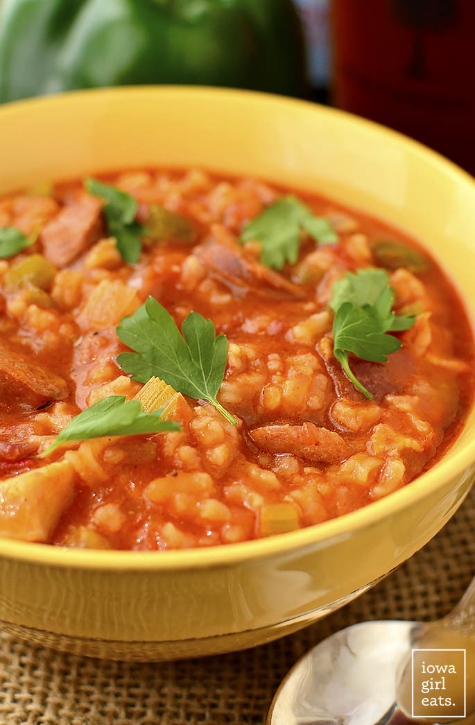 Jambalaya Soup is an easy and soul-satisfying gluten-free soup recipe. Slightly thick and perfectly spicy, it's a delicious taste of the south! | iowagirleats.com