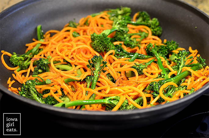 sausage-sweet-potato-noodles-and-broccoli-skillet-iowagirleats-07