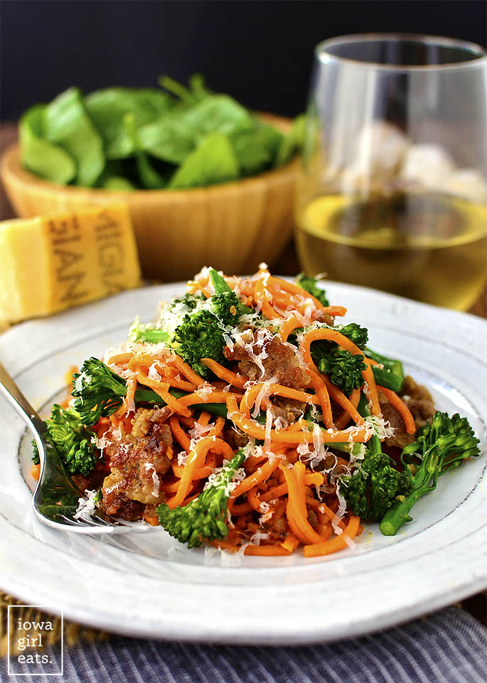 Sausage, Sweet Potato Noodles and Broccoli Skillet is a quick and nutritious gluten-free dinner recipe that's cooked in one skillet and in under 30 minutes! | iowagirleats.com