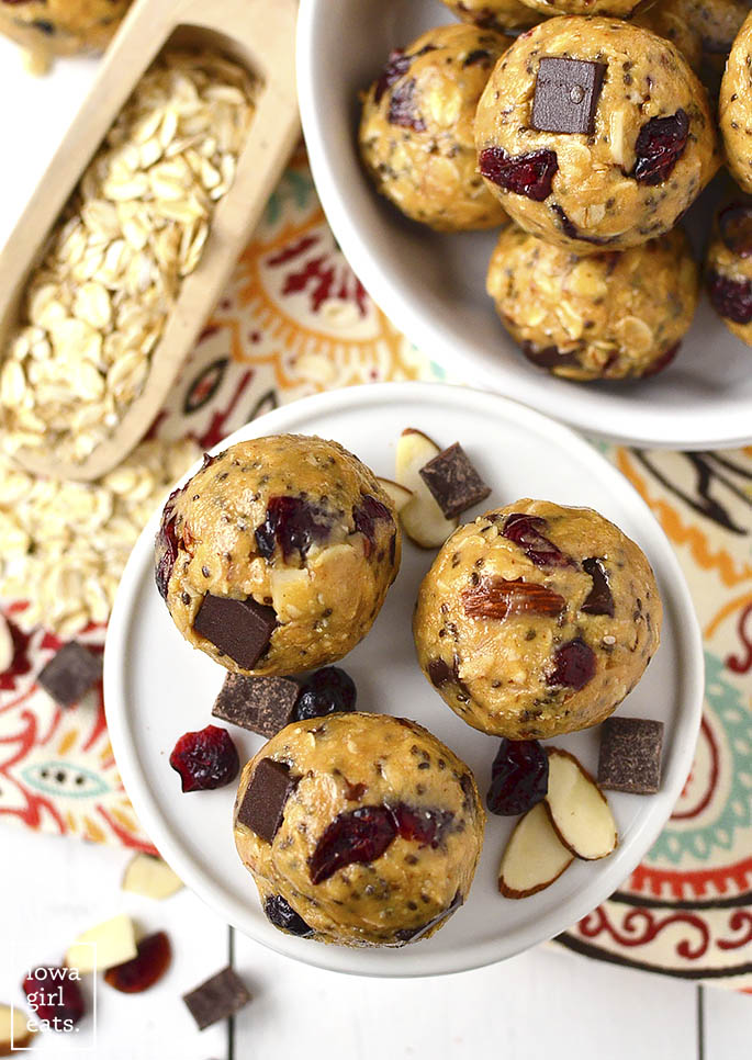 Gluten-free, No-Bake Cranberry Chocolate Almond Energy Bites taste like cookie dough and provide a burst of energy whenever you need it. Make a double batch to stock the freezer with! | buzzpur.info