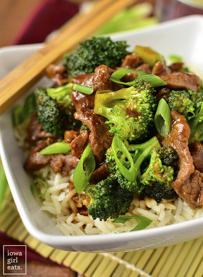 Never order Broccoli Beef takeout again! My copycat, gluten-free Beef Broccoli is easy to whip up and much, much lower in fat and sugar than a restaurant's. | iowagirleats.com