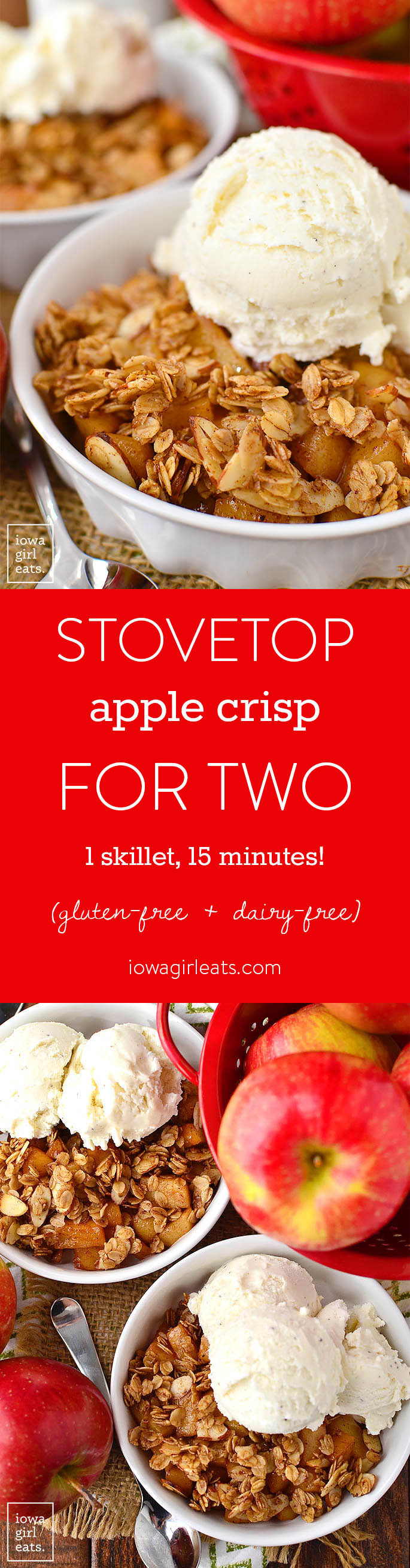 Stovetop Apple Crisp for Two is for when you're craving apple crisp, but don't want to make a big batch that has to bake for an hour. Just 1 skillet and 15 minutes is all you need! | iowagirleats.com