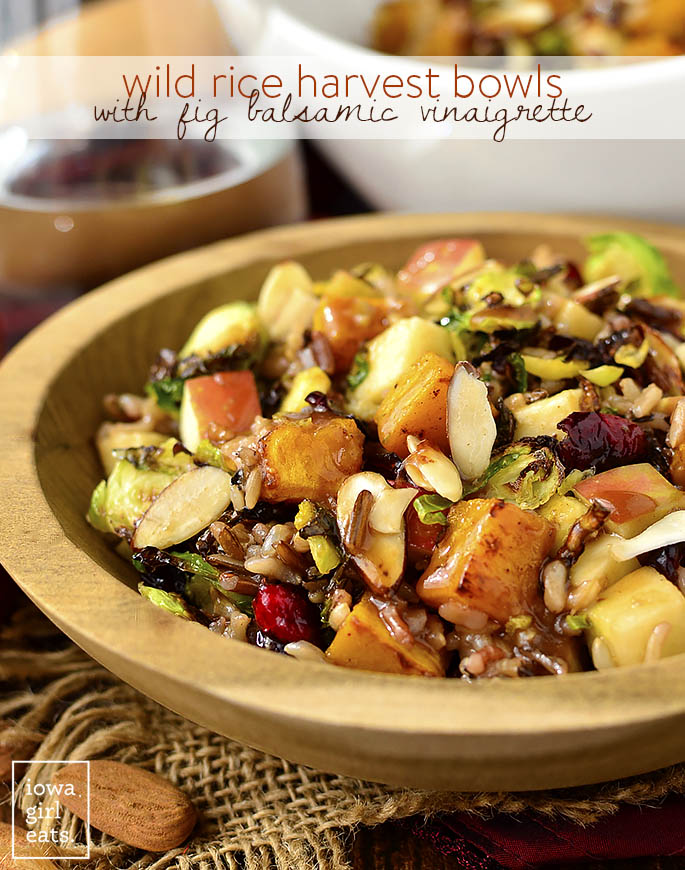 Wild Rice Harvest Bowls with Fig Balsamic Vinaigrette | Delicious & Easy Fall Recipes I Homemade Recipes | Cozy Dinner Ideas