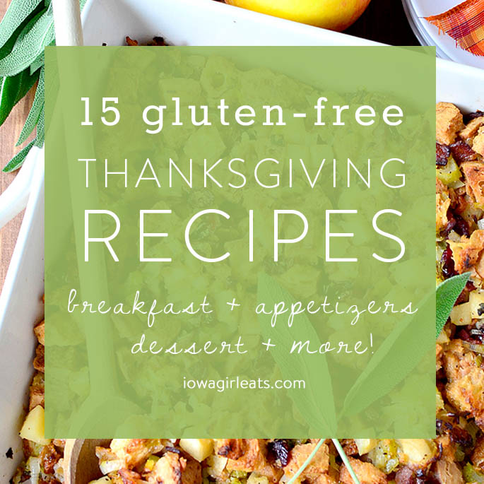 From breakfast to side dish recipes, dessert and drink recipes, here are 15 of my favorite gluten-free Thanksgiving recipes! | iowagirleats.com