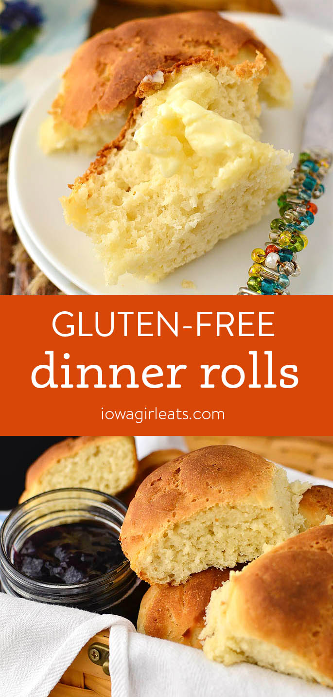 Photo collage of soft and doughy gluten free dinner rolls