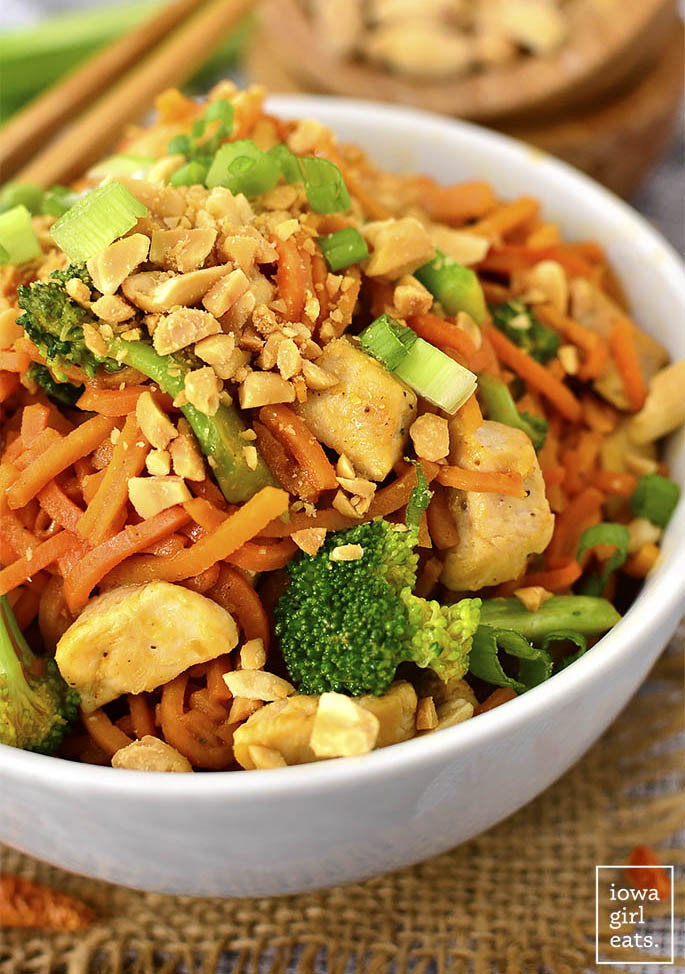 Thai Peanut Chicken and Sweet Potato Noodles are a healthy and gluten-free twist on your favorite Thai takeout order. Easy, colorful, and delicious! | www.safways.com