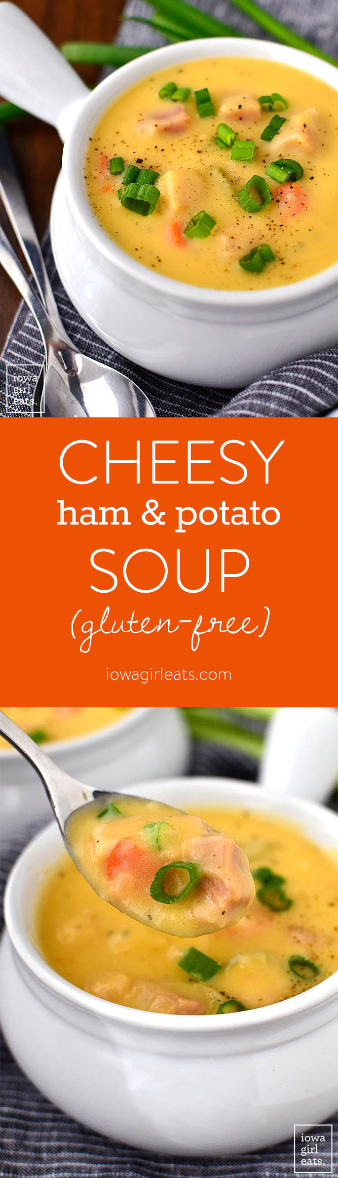 Cheesy Ham and Potato Soup is a thick and hearty gluten-free soup recipe that's perfect for cold nights. Use leftover ham and mashed potatoes to make this simple soup even easier to whip up! | iowagirleats.com