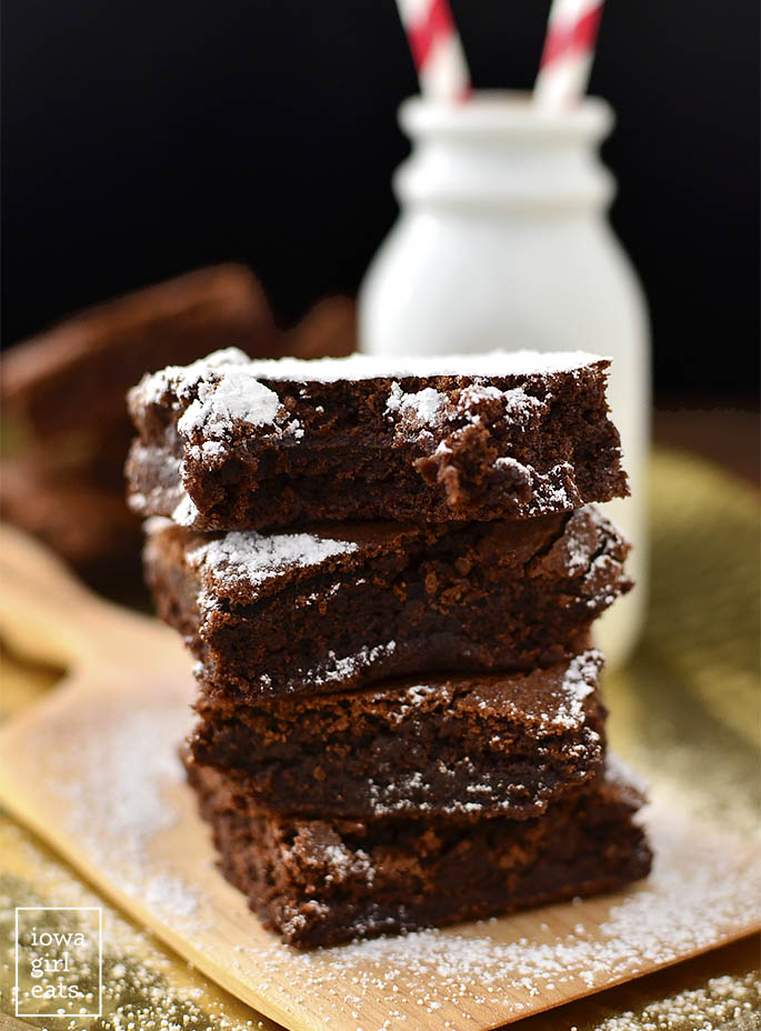 Photo of pile of brownies with bite taken out