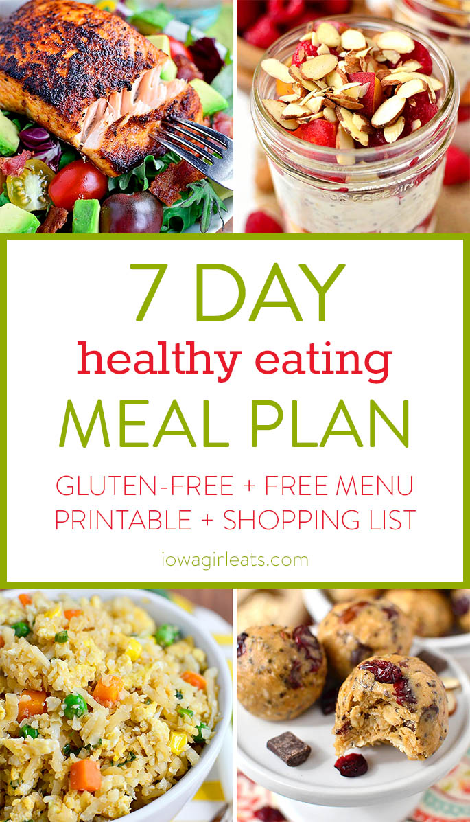 7 Day Healthy Eating Meal Plan With Gluten Free Breakfast Lunch Dinner And