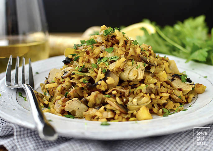 "Artichoke, Leek and Mushroom Fried Parsnip ""Rice"" is a vegan and gluten-free dinner recipe that will leaving you feeling light and satisfied! 