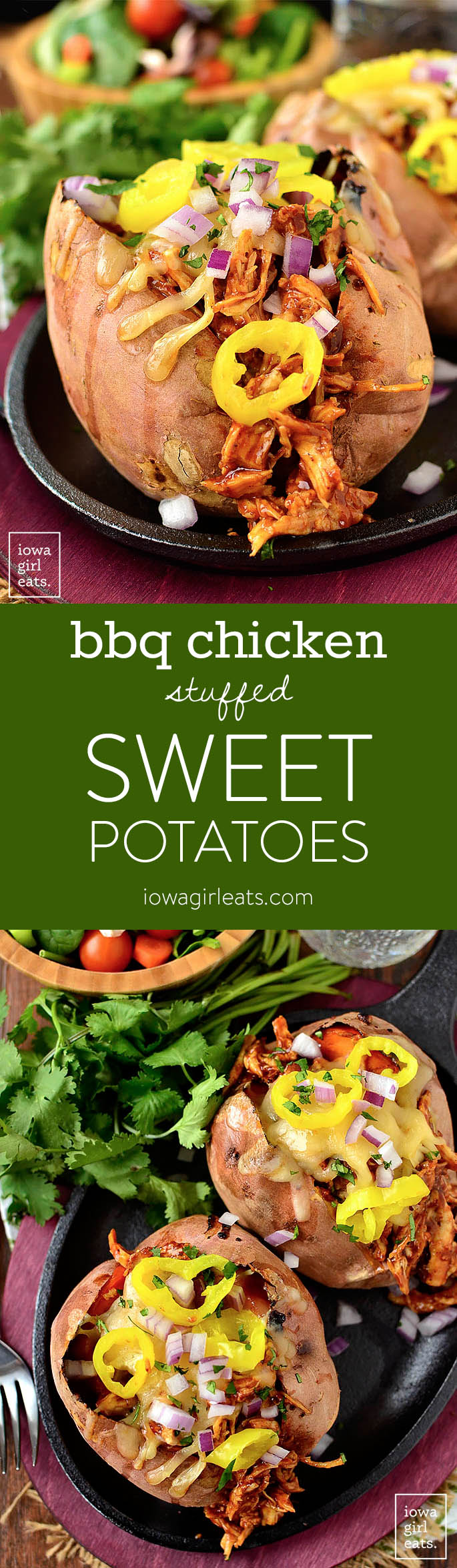 BBQ Chicken Stuffed Sweet Potatoes call for just 5 main ingredients and are insanely delicious. Leftovers are just as tasty too!   iowagirleats.com
