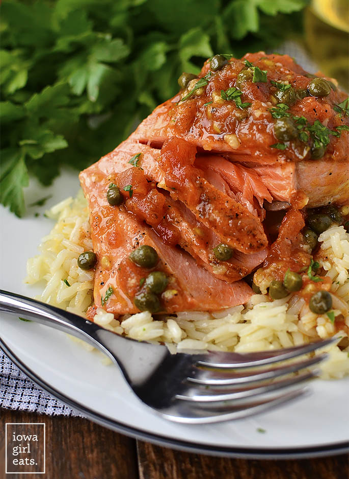 Salmon Provencal is quick, easy and absolutely mouthwatering. Impress your family and friends with this impressive, 30-minute, restaurant-quality salmon dish! | iowagirleats.com