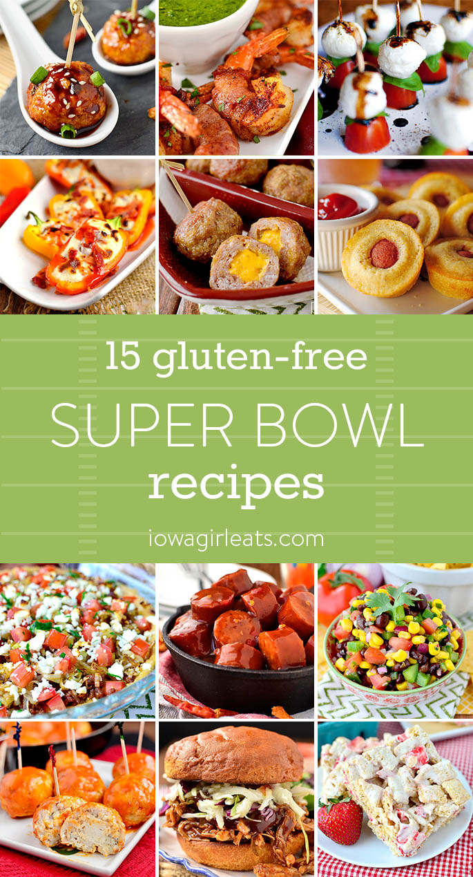 From crock pot sandwiches to creamy dips, choose a few of these 15 gluten-free Super Bowl recipes to serve at game time! | iowagirleats.com