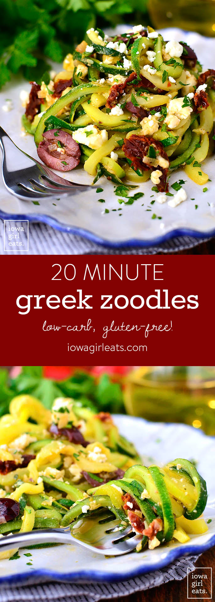 Greek Zoodles cook in just 10 minutes and are full of fresh, clean flavors. Pair with chicken or shrimp, or serve as a gluten-free light main meal for two!