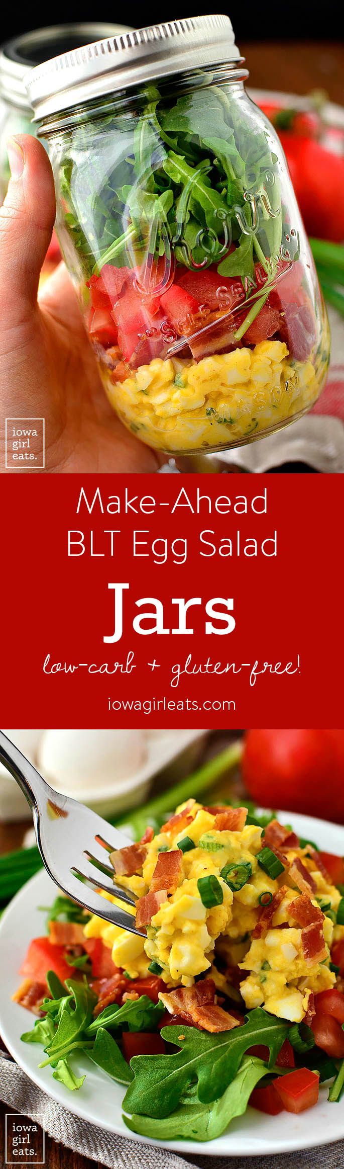 BLT Egg Salad Jars are SO easy and delicious, plus they're packed with protein and fresh vegetables. Assemble for grab-and-go gluten-free lunches throughout the week! | iowagirleats.com