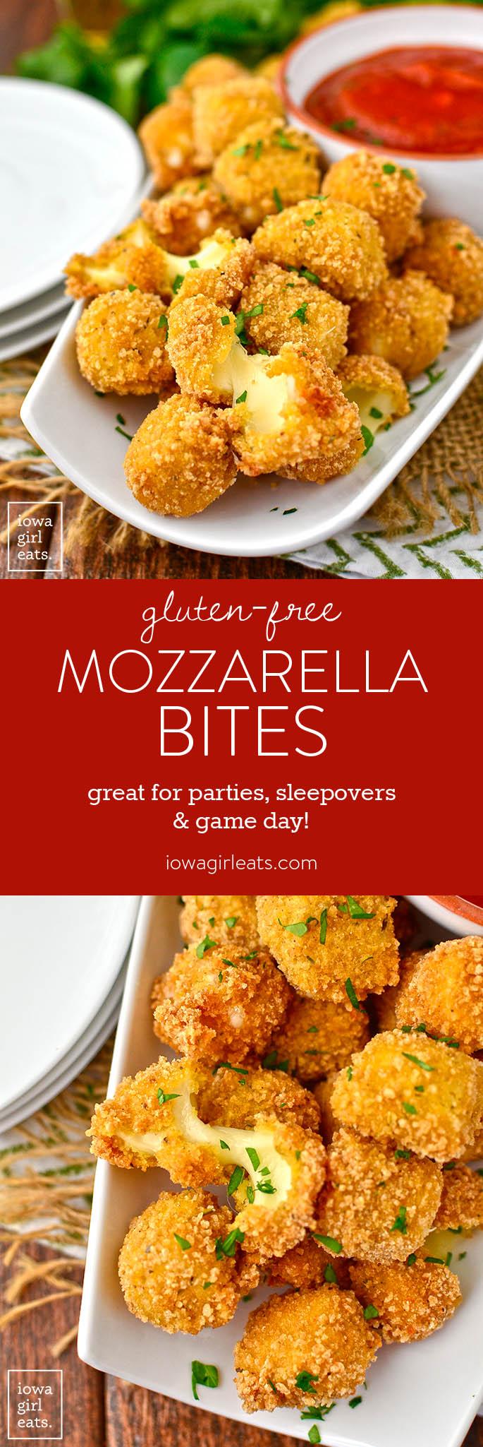 Gluten-Free Mozzarella Bites are easy to whip up at home. These crispy, ooey-gooey bites are great for game day, kids' sleepovers, or anytime you're craving a cheesy treat! | iowagirleats.com