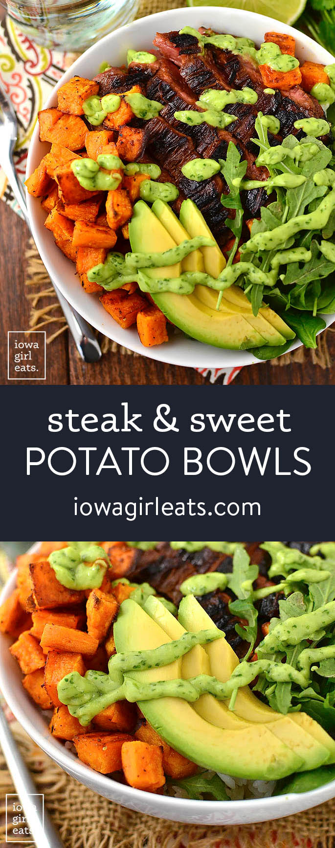 Photo collage of steak and sweet potato bowls